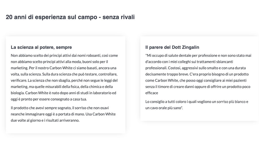 Benefici di Carbon White